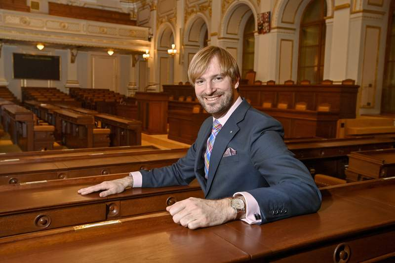 Member of Czech Parliament Adam Vojtech poses in Parliament building in Prague, Czech Republic, Friday, Feb. 5, 2021. Czech Health Minister Petr Arenberger will resign and he will be replaced with former minister Adam Vojtech who stepped down last year, Prime Minister Andrej Babis has told journalists on Tuesday, May 25, 2021.(Vit Simanek/CTK via AP) SLOVAKIA OUT