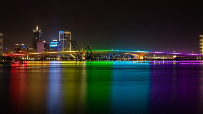 Rainbow colors removed from Acosta Bridge