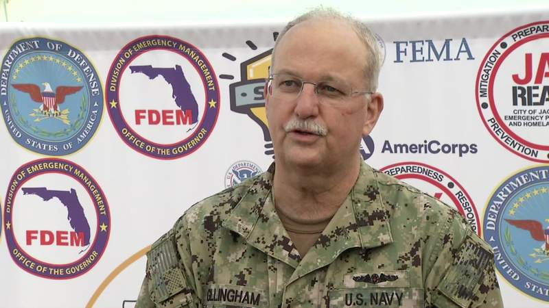 US Navy Surgeon General Bruce Gillingham visited the Gateway vaccination clinic on Thursday.