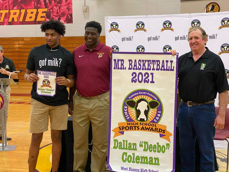 West Nassau's Deebo Coleman (far left), was presented with the Mr. Basketball award on Tuesday.