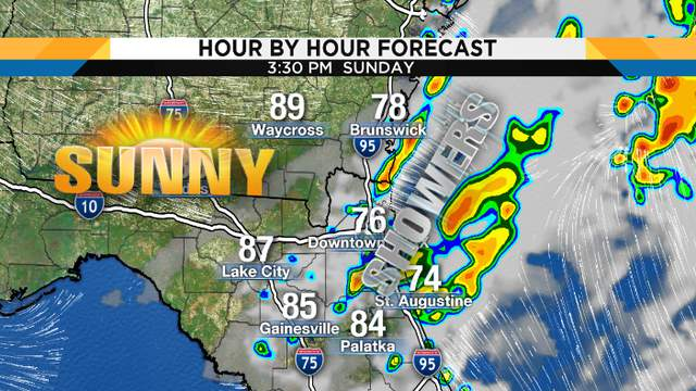 Sunday showers? A real possibilitiy, especially from Gainesville to Jacskonville southward along the coast.