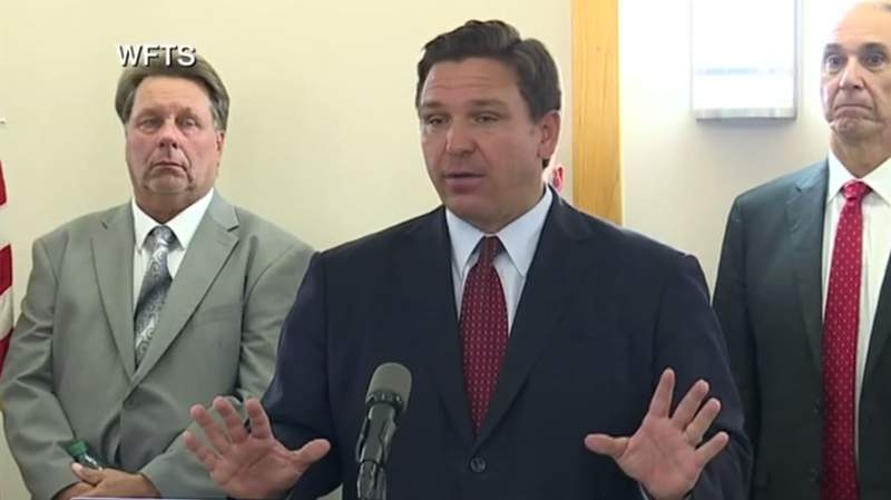 Gov. Ron DeSantis during a news conference in Tampa.