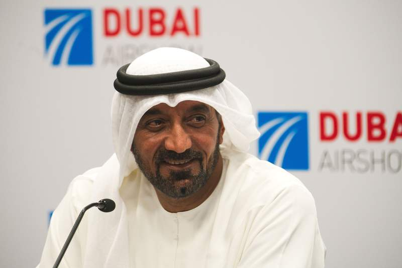 FILE - In this Nov. 18, 2019, file photo, Sheikh Ahmed bin Saeed Al Maktoum, the chairman and CEO of the Dubai-based long-haul carrier Emirates, speaks at a news conference at the Dubai Airshow in Dubai, United Arab Emirates. Emirates Group reported Thursday, Nov. 12, 2020 it lost $3.8 billion in the first half of the year, its first net loss in over three decades after the pandemic wiped out air travel. (AP Photo/Jon Gambrell, File)