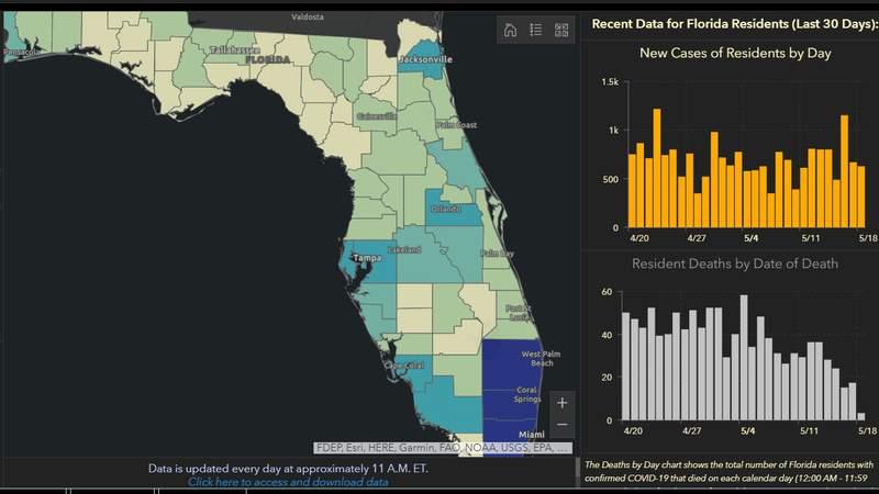 Florida's COVID-19 dashboard 5-20-20