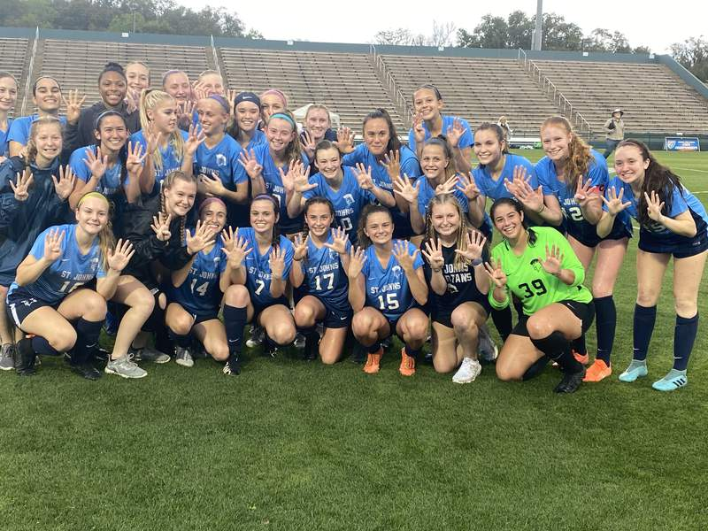 The St. Johns Country Day girls soccer team blanked Shorecrest Prep 4-0 to win the Class 2A state championship, its ninth consecutive. The Spartans lead the way into the 2021 playoffs, which begin Tuesday night for area boys and girls teams.