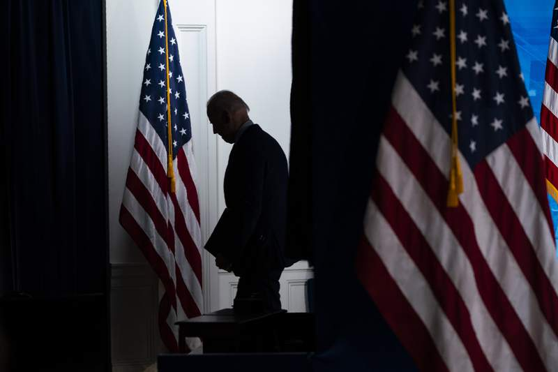 President Joe Biden walks off after speaking about COVID-19 vaccinations at the White House, Wednesday, April 21, 2021, in Washington. (AP Photo/Evan Vucci)