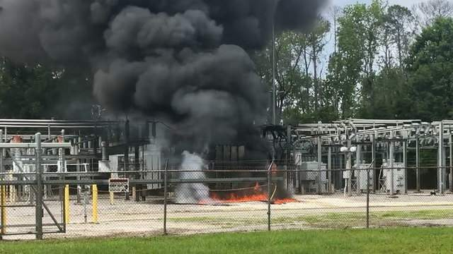 Orange Park Fire Department image of fire at JEA substation.