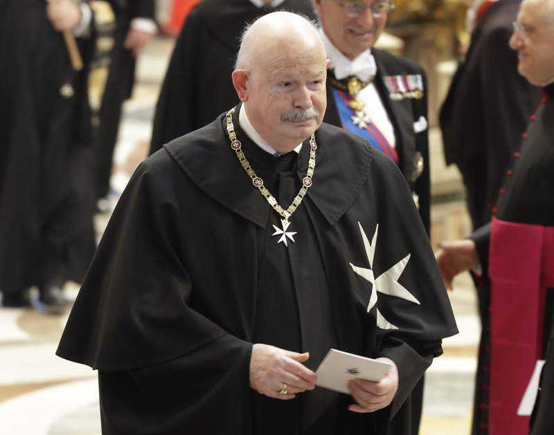 FILE - In this Thursday, June 28, 2018 file photo, Giacomo Dalla Torre del Tempio di Sanguinetto, Prince and Grand Master of the Sovereign Military Order of Malta, attends a consistory in St. Peter's Basilica at the Vatican. Giacomo Dalla Torre del Tempio di Sanguinetto, who steered the ancient Knights of Malta religious order through an institutional crisis with the Vatican as its prince and grand master, has died. He was 75.  The order said Dalla Torre died early Wednesday after being diagnosed several months ago with an incurable disease. (AP Photo/Alessandra Tarantino, File)