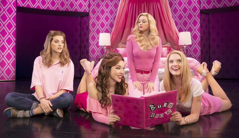 Photo Credit Mean Girls Tour Photo 1 Book by Tina Fey, Music by Jeff Richmond, Lyrics by Nell Benjamin, Directed & Choreographed by Casey Nicholaw Pictured (L-R): Danielle Wade (Cady Heron), Megan Masako Haley (Gretchen Wieners), Mariah Rose Faith (Regina George), and Jonalyn Saxer (Karen Smith) in the National Touring Company of Mean Girls Credit: © 2019 Joan Marcus