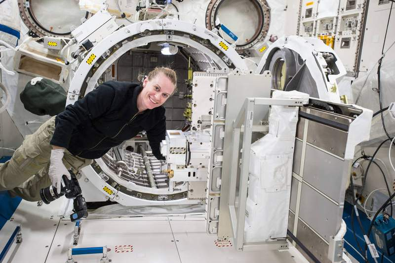 The Nanoracks Bishop Airlock being added to the space station has five times the capacity of the existing Japanese airlock shown here with astronaut Kate Rubins. Image Credits: NASA