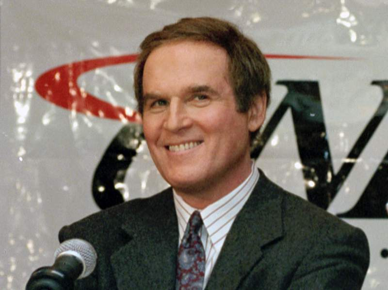 """FILE - Actor/comedian Charles Grodin, appears at a news conference announcing him as host of CNBC's new primetime show """"Charles Grodin"""" in New York on Nov. 15, 1994. Grodin, the offbeat actor and writer who scored as a newlywed cad in The Heartbreak Kid and the father in the Beethoven comedies, died Tuesday at his home in Wilton, Conn. from bone marrow cancer. He was 86.  (AP Photo/Marty Lederhandler, File)"""