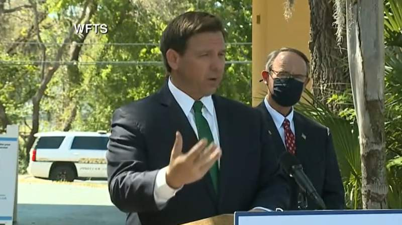 Gov. Ron DeSantis during a press conference in Palm Harbor.
