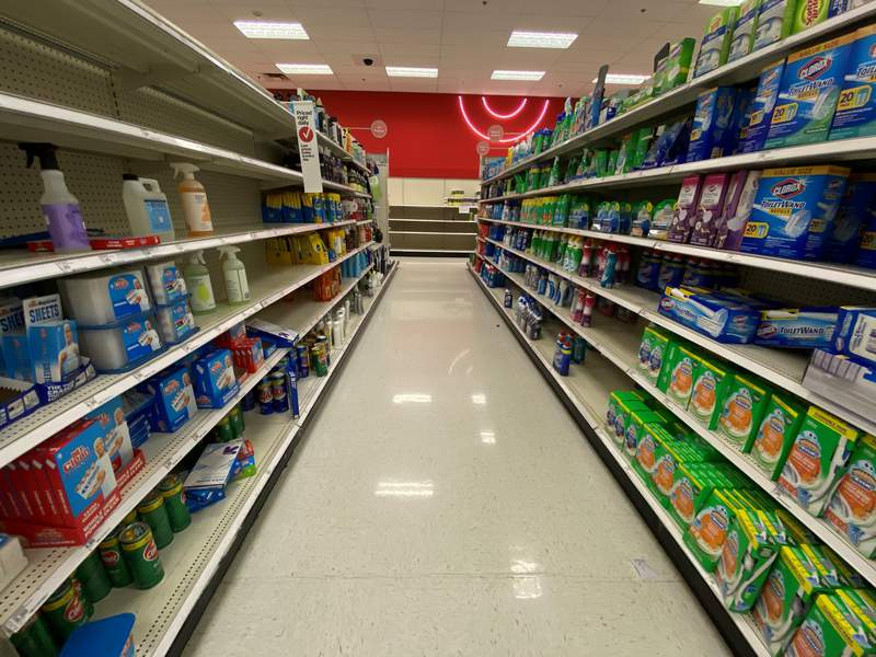 Shelves in the cleaning supplies aisle were empty at the Target at Dunvale and Westheimer on March 7, 2020.