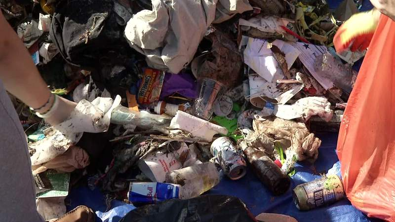 Piles of litter were collected Saturday by hundreds of volunteers at three sites around the area.