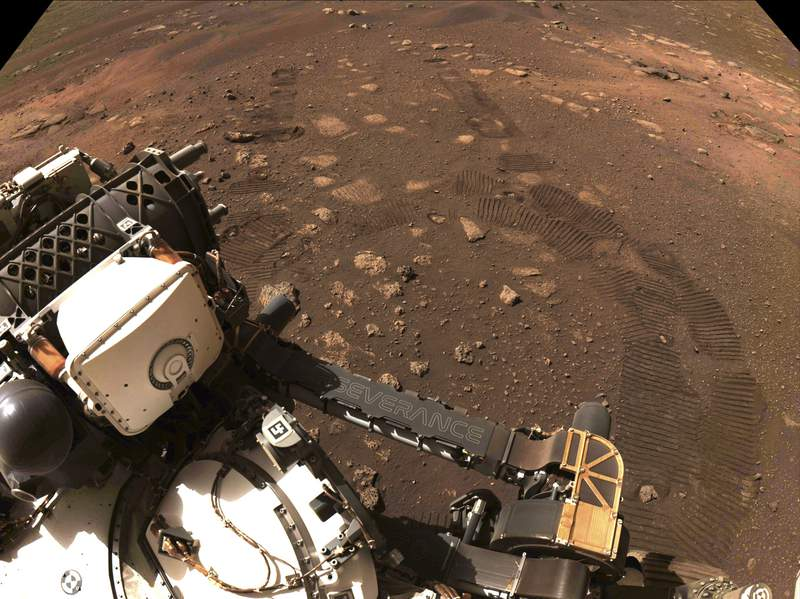 FILE - This photo made available by NASA was taken during the first drive of the Perseverance rover on Mars on Thursday, March 4, 2021. Perseverance landed on Feb. 18, 2021. (NASA/JPL-Caltech via AP)