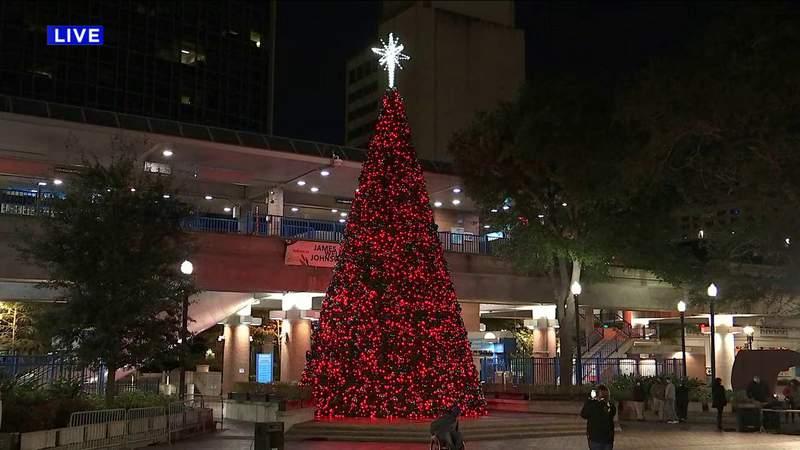 Christmas tree brightens Jacksonville's James Weldon Johnson Park