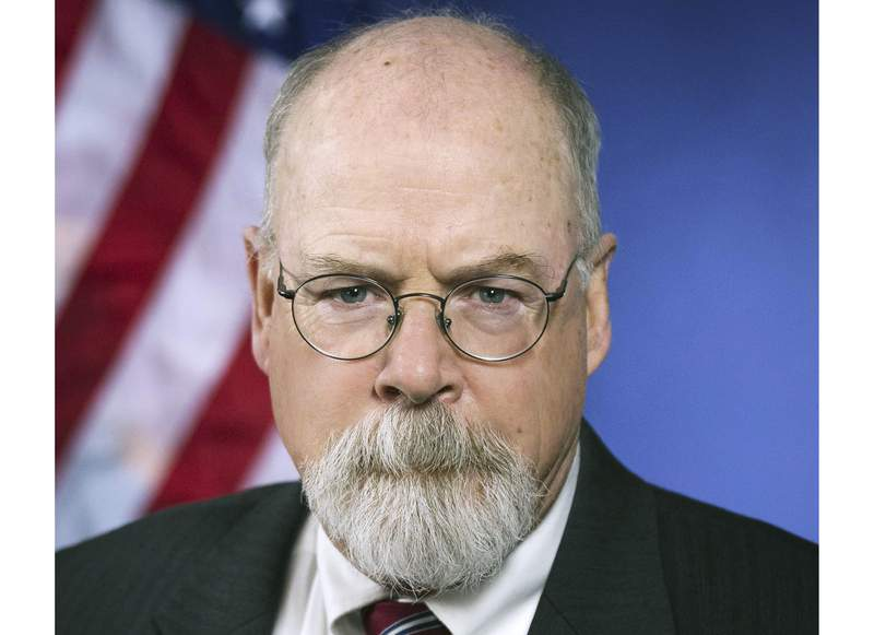 FILE - This 2018 portrait released by the U.S. Department of Justice shows Connecticut's U.S. Attorney John Durham. Durham, the federal prosecutor tapped to investigate the origins of the Russia investigation, has been presenting evidence before a grand jury as part of his probe, a person familiar with the matter said Friday, Aug. 13, 2021. (U.S. Department of Justice via AP, File)