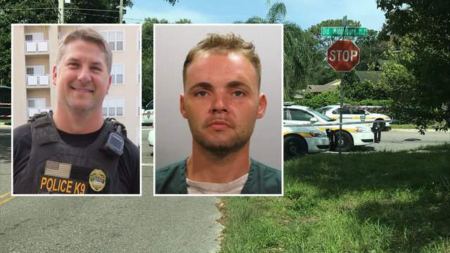 JSO photo of K-9 Officer Jeremy Mason (left) and previous booking photo of Michael Harris (right)