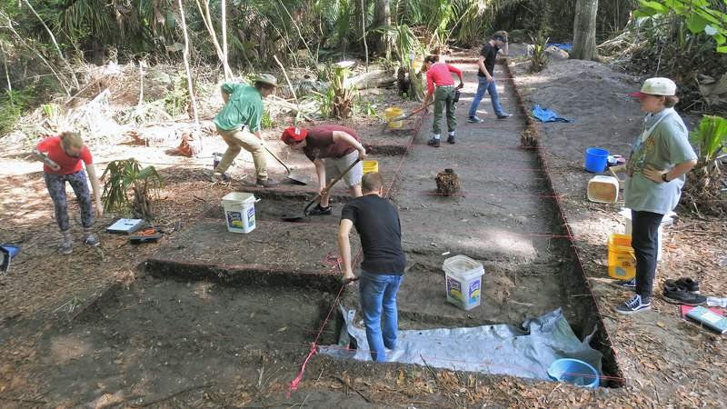 UNF archaeology students dig at site on Talbot Island.