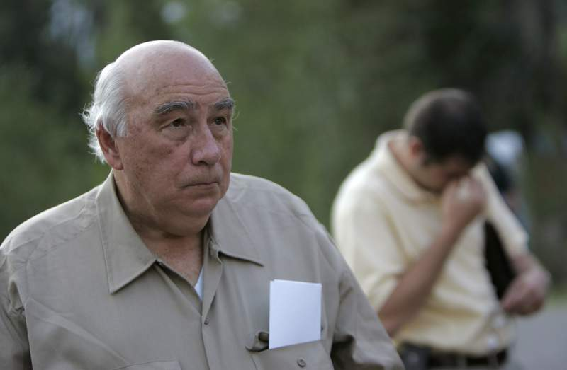 FILE - Robert Murray, founder and chairman of Cleveland-based Murray Energy Corp., arrives at a news conference at the entrance to the Crandall Canyon Mine, in northwest of Huntington, Utah on Monday, Aug. 20, 2007. A published report says Murray has filed an application with the U.S. Department of Labor for black lung benefits. Ohio Valley ReSource reports the former head of Murray Energy said on the form that he is still board chairman of the company but can no longer serve as president and CEO due to his health. (AP Photo/Jae C. Hong)