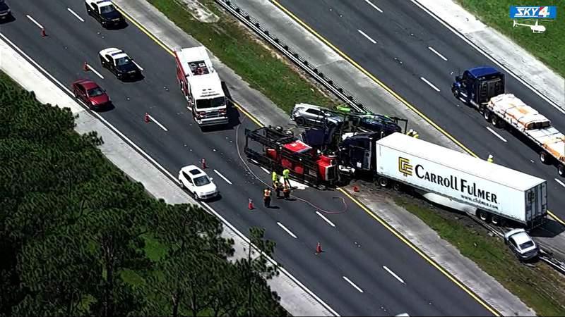 Two semis crashed Thursday morning on I-95 near International Golf Parkway.