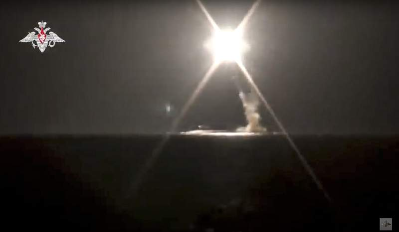 In this photo taken from video distributed by Russian Defense Ministry Press Service on Monday, Oct. 4, 2021, a new Zircon hypersonic cruise missile is launched by a submarine of the Russian navy from the Barents Sea. A prospective Russian hypersonic missile has been successfully test-fired from a nuclear submarine for the first time. The Russian Defense Ministry said Monday that the Zircon missile was launched from the Severodvinsk submarine and hit a designated mock target in the Barents Sea. The launch marked Zircon's first launch from a submarine. (Russian Defense Ministry Press Service via AP)