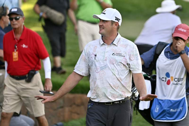 Jason Kokrak walks off the 18th hole after completing the final round of the CJ Cup golf tournament at Shadow Creek Golf Course, Sunday, Oct. 18, 2020, in North Las Vegas. (AP Photo/David Becker)