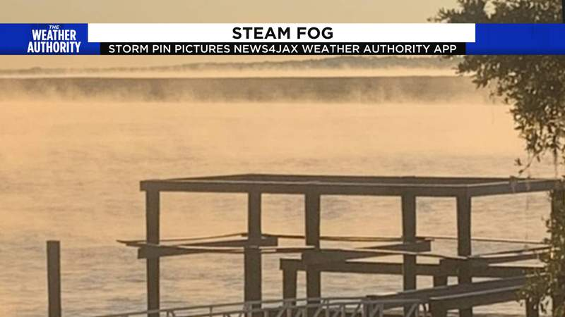 Steam fog over the river formed Wednesday morning after cold air moved over warm water.