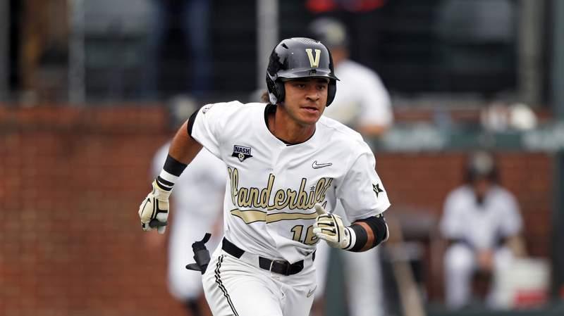 Vanderbilt's Austin Martin runs to first base during an NCAA college baseball game against Missouri, Saturday, May 11, 2019, in Nashville, Tenn. (AP Photo/Wade Payne)