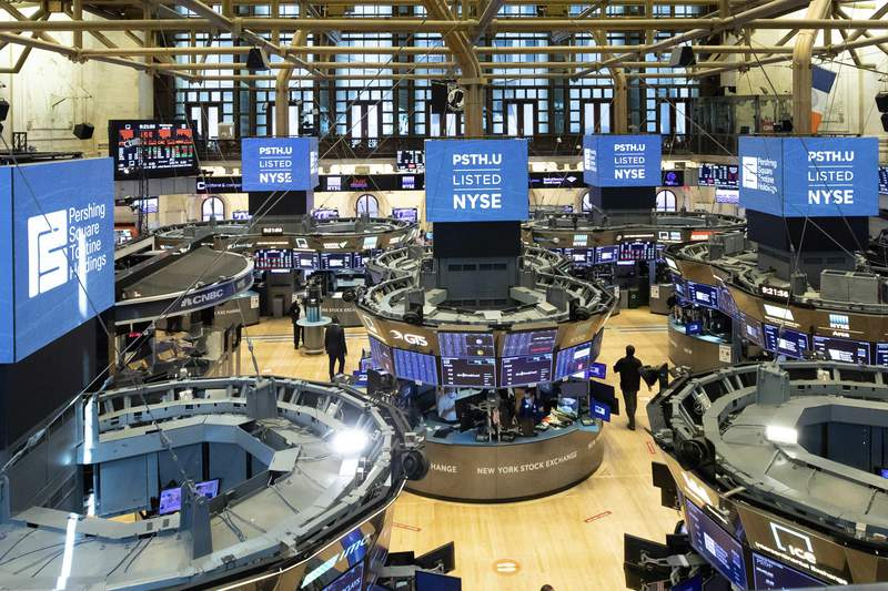 FILE - This July 22, 2020 photo provided by the New York Stock Exchange shows the trading floor in New York.  The S&P 500 is once again flirting with its record levels, as stocks drift a bit higher on Wall Street Tuesday, Aug. 18.    (NYSE Photo by Colin Ziemer via AP)