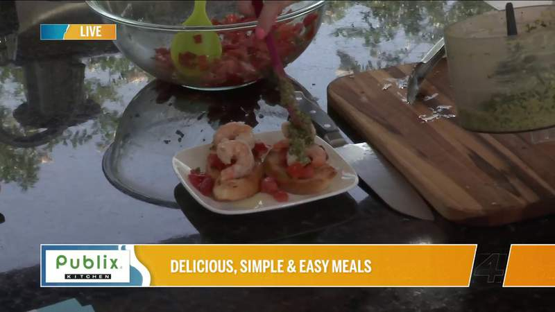 Publix Kitchen Recipe: Shrimp Bruschetta with Lemon Kale Pesto & Shaved Asiago | River City Live