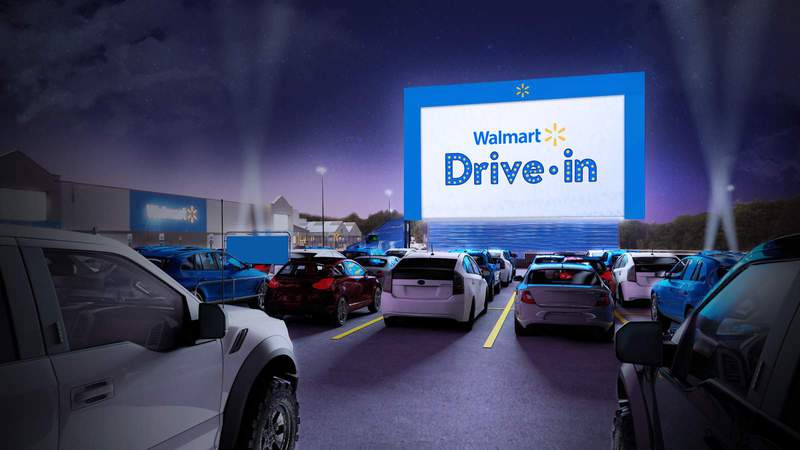 Walmart planning to turn some parking lots into drive-in theaters (Walmart)