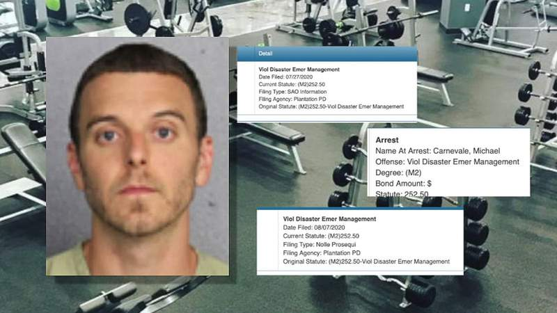 Mike Carnevale was charged with three misdemeanors after allowing patrons to workout last summer without facemasks.