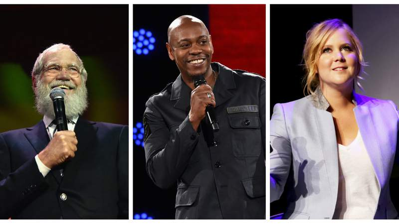 David Letterman, Dave Chappelle and Amy Schumer are some of the biggest names headlining the Netflix Is a Joke Fest. (Photos via Getty Images.)