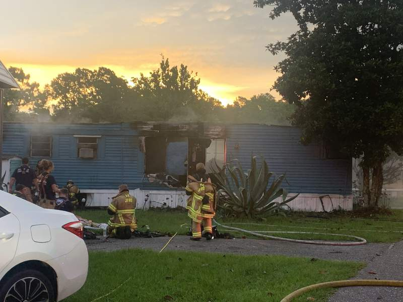 JFRD rushed to a fire at a mobile home near the 5200 block of Collins Road on  Saturday morning.