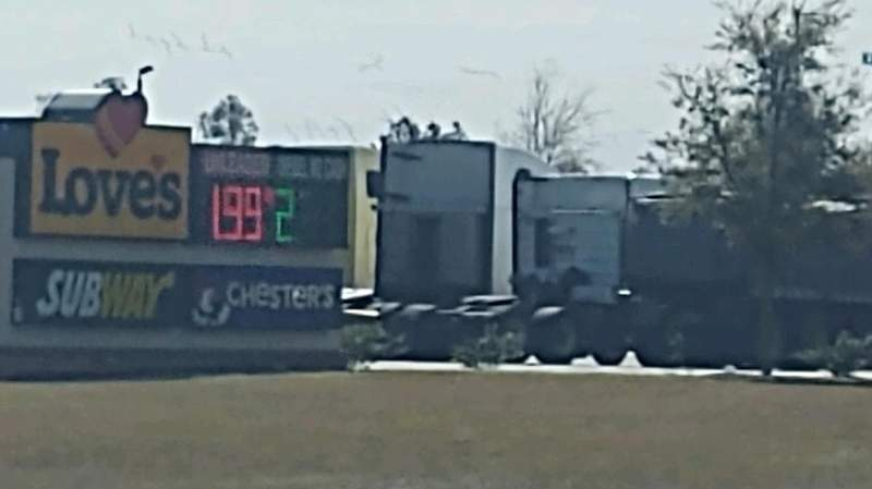 A viewer photo shows fuel is $1.99 at Love's Travel Stop in Jacksonville.