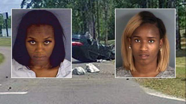 Clay County Sheriff's Office booking photos of Khadrede Tiara Brown and Cheneta Bree Duffy on photo of car deputies say they were driving away from Orange Park Mall.