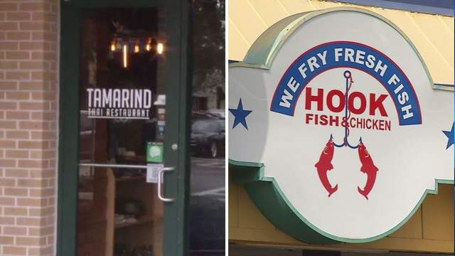 File photos of Tamarind Thai and Hook Fish & Chicken