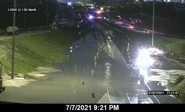 According to the Florida Highway Patrol, there was 2.5 feet of water over I-295.