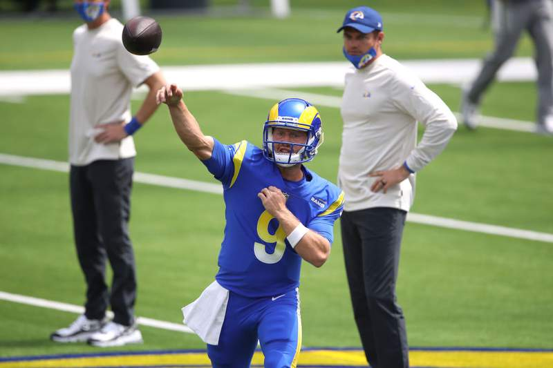 Bishop Kenny graduate John Wolford of the Los Angeles Rams warms up prior to a team scrimmage at SoFi Stadium on August 29, 2020 in Inglewood, California. (Photo by Sean M. Haffey/Getty Images)