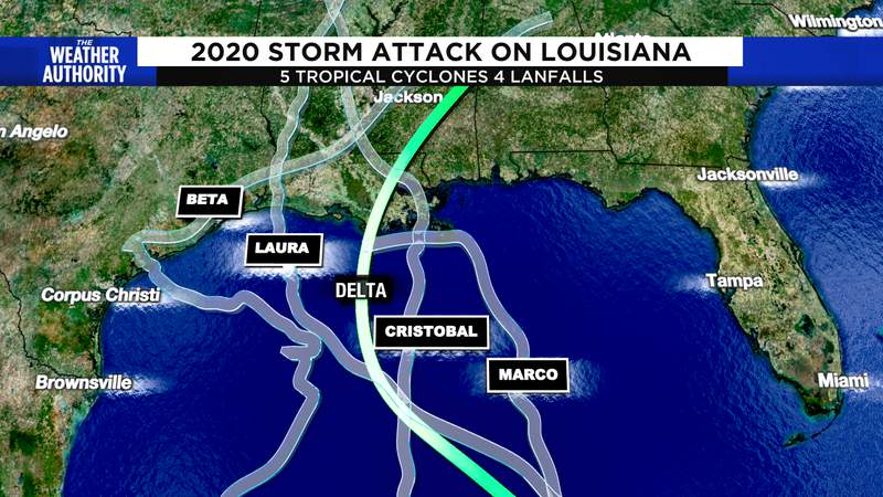 2020 has been a active year for landfalling tropical cyclones. Delta's forecasted track in green.