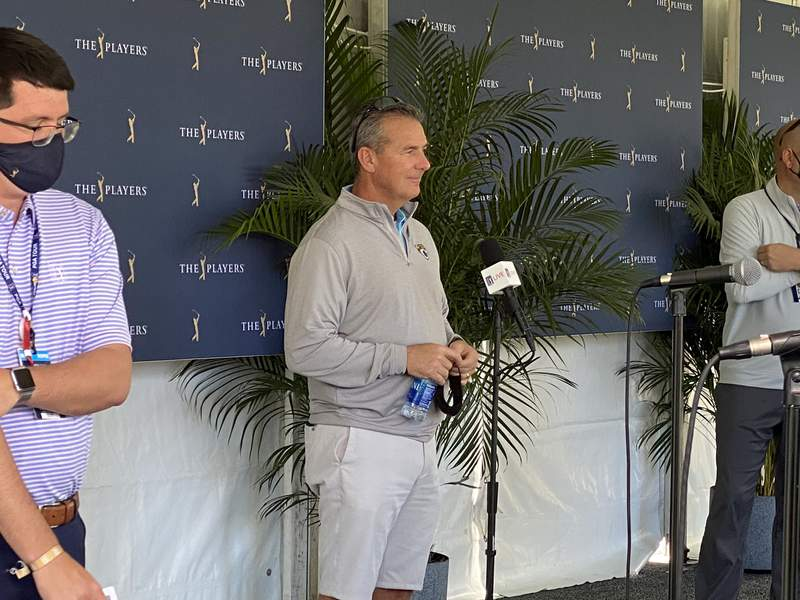 Jaguars coach Urban Meyer speaks to the media on Friday at TPC Sawgrass.
