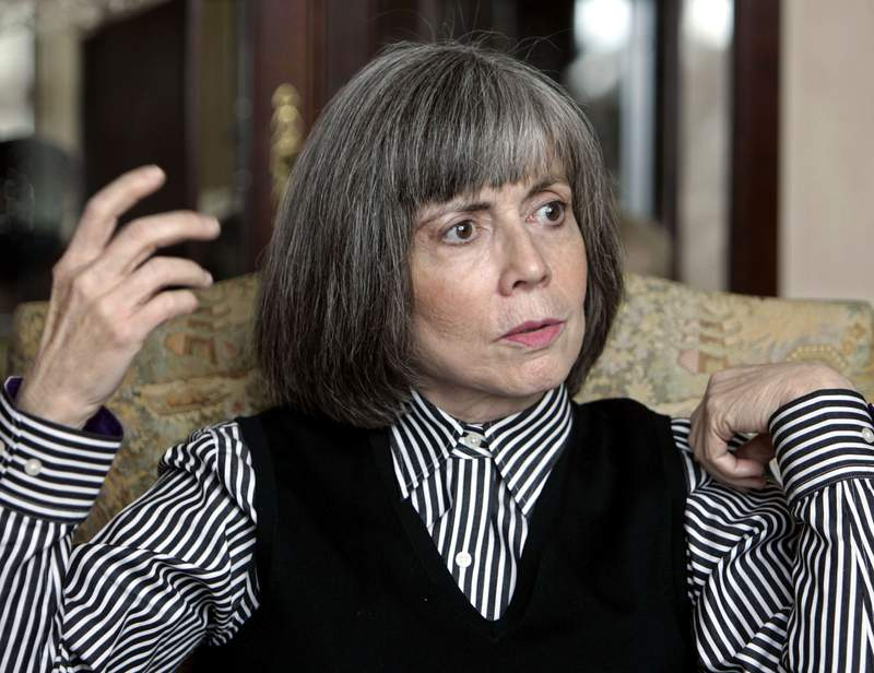 """FILE - In this Oct. 26, 2005 file photo, author Anne Rice talks about her new book during an interview at her home in La Jolla, Calif. Tulane University has acquired the complete archives of famed author, Anne Rice, who was born and raised in New Orleans and whose books including Interview with a Vampire,"""" often drew inspiration from her home town. The collection was a gift from Stuart Rose and the Stuart Rose Family Foundation to the university's Howard-Tilton Memorial Library, the university said in a statement. (AP Photo/Lenny Ignelzi)"""