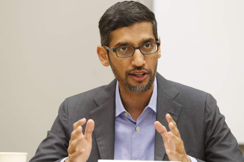 FILE- In this Oct. 3, 2019 file photo, Google CEO Sundar Pichai speaks during a visit to El Centro College in Dallas. U.S. tech giant Google is investing in a $10 billion fund to help accelerate Indias transition to a digital economy in the next five to seven years.   Pichai, said Monday that the project will focus on building products that are relevant to Indias needs and empowering businesses for their digital transformation.(AP Photo/LM Otero, File)