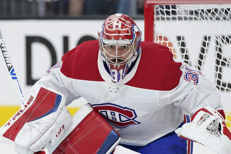 FILE - Montreal Canadiens goaltender Carey Price (31) plays against the Vegas Golden Knights during Game 2 of an NHL hockey Stanley Cup semifinal playoff series in Las Vegas, in this Wednesday, June 16, 2021, file photo. Canadiens goaltender Carey Price has voluntarily entered the NHL/NHL Players Association joint player assistance program, a stunning announcement Thursday, Oct. 7, 2021, less than a week before the season begins and just three months after he backstopped Montreal to the Stanley Cup Final. (AP Photo/John Locher, File)