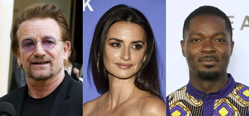 """U2 frontman Bono speaks to the media after a meeting at the Elysee Palace, in Paris, on July 24, 2019, from left, actress Penelope Cruz attends the """"Wasp Network"""" premiere during the 57th New York Film Festival in New York on Oct. 5, 2019, and David Oyelowo attends the GEANCO Foundation Hollywood Gala in Los Angeles on Oct. 10, 2019.  Bono, Cruz and Oyelowo will lend their voices in an animated series to raise awareness about the importance of vaccine access. The ONE Campaign announced Wednesday that the series Pandemica will launch Thursday. (AP Photo)"""