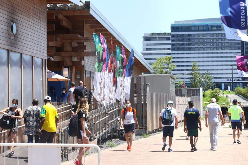 A general view of the Olympic Village ahead of the Tokyo 2020 Olympic Games on July 21, 2021 in Tokyo, Japan. (Photo by Alexander Hassenstein/Getty Images)