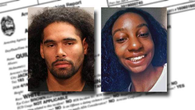 Jacksonville Sheriff's Office booking photo of Johnathan Quiles and family photo of Iyana Sawyer