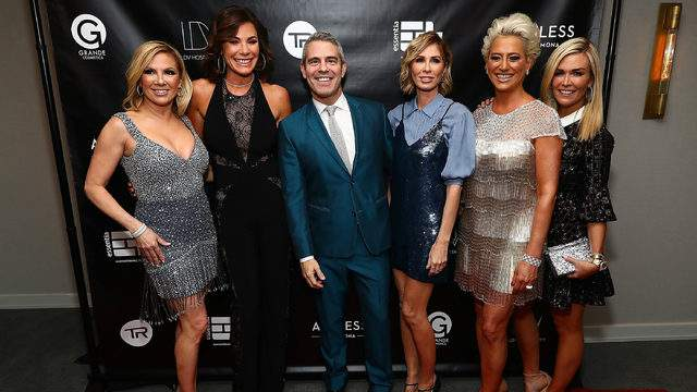 """Andy Cohen with some of the cast of """"The Real Housewives of New York City"""" (Photo by Astrid Stawiarz/Getty Images for Talent Resources)."""