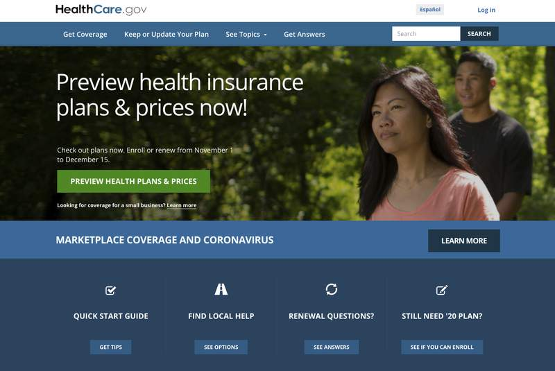 FILE - This file image provided by U.S. Centers for Medicare & Medicaid Service shows the website for HealthCare.gov. (U.S. Centers for Medicare & Medicaid Service via AP)